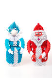 Santa Claus and Snow Maiden from the modular origami Stock Photography