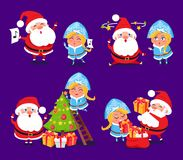 Santa Claus and Snow Maiden Preparing for Holidays. Set of icons on purple background. Vector illustration with winter symbols decorating Christmas tree Royalty Free Stock Image