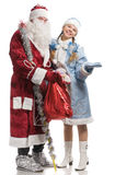 Santa Claus and snow maiden with stretched palm Stock Photo