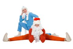 Santa Claus and the Snow Maiden of yoga Stock Image