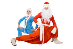 Santa Claus and the Snow Maiden of yoga Royalty Free Stock Photography