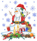 Santa Claus snow man Stock Photography