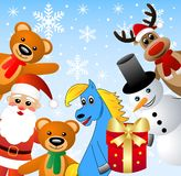 Santa claus, snow man and beasts Royalty Free Stock Photography