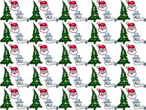 Santa claus snow man and chrismas tree seamless pattern Stock Image