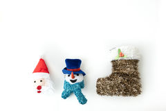 Santa Claus and Snow man and christmas stocking Royalty Free Stock Images