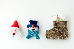 Santa Claus and Snow man and christmas stocking stock images