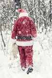 Santa Claus in snow storm Royalty Free Stock Photo