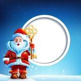 Santa Claus in the snow with a thumbs up and Stock Photography