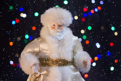 Santa Claus with the snow. Will bring many gifts to children Royalty Free Stock Photo