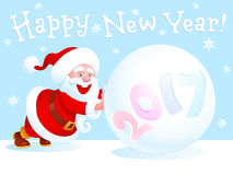 Santa Claus and snowball. Funny Santa Claus pushes a large snowball with year number on the edge of white sheet. There is a Happy New Year jolly handwritten Royalty Free Stock Photos