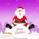 Santa Claus on snowball. Illustration of Santa Claus on snow ball Royalty Free Stock Photo