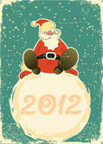 Santa Claus on snowball.Retro card for celebrate Royalty Free Stock Photography