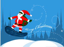 Santa Claus on snowboard Stock Photo
