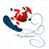 Santa Claus on snowboard Stock Photography