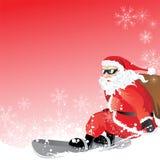 Santa Claus on Snowboard Stock Photo