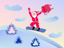 Santa Claus and snowboard Royalty Free Stock Photography