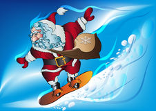 Santa claus on a snowboard. Hurries with gifts for Christmas vector illustration