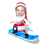 Santa Claus on a snowboard Stock Images