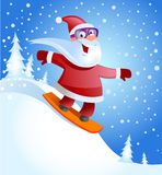 Santa Claus on snowboard Stock Images