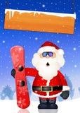 Santa Claus with snowboard Royalty Free Stock Photo