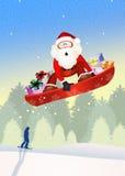 Santa Claus on snowboard Stock Photos