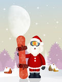 Santa Claus with snowboard Royalty Free Stock Photos