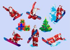 Santa Claus on snowboard. Snowboarding, winter sports. Vector Illustration, Claus Stock Images
