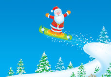 Santa Claus snowboarder Royalty Free Stock Photo