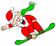 Santa Claus snowboarder Stock Image