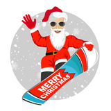 Santa Claus snowboarding jumping  over white background Stock Photography