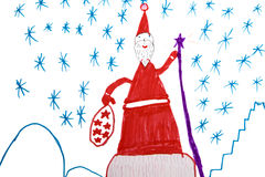 Santa Claus and snowflake Stock Images