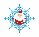 Santa Claus in Snowflake. Santa Claus  in blue Snowflake Royalty Free Stock Photography