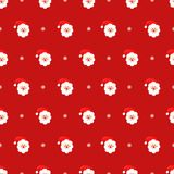 Santa Claus and snowflake seamless pattern on red background. Vector holidays illustration for new year and Christmas. Cartoon style. Design for fabric Royalty Free Stock Photo