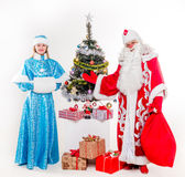 Santa Claus with snowgirl Stock Photography