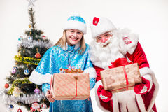 Santa Claus with snowgirl Royalty Free Stock Image