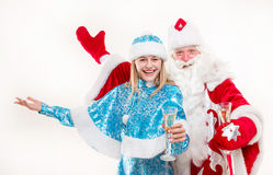 Santa Claus with snowgirl Stock Photos