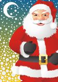 Santa Claus in snowing hight. A fully scalable vector illustration of Santa Claus in snowing night Stock Photo