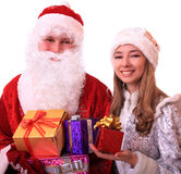 Santa Claus and a Snowmaiden Stock Photo