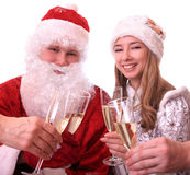 Santa Claus and a Snowmaiden Royalty Free Stock Images