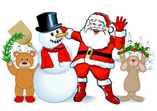 Santa Claus & snowman. Illustration of Santa Claus and a snowman, flanked by a bear holding an evergreen branch and a rabbit holding up holly, on a snowy outdoor Royalty Free Stock Images