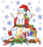 Santa Claus snowman Arkivbild