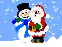 Santa Claus and snowman Stock Photo