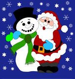 Santa Claus and Snowman Royalty Free Stock Photos