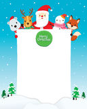 Santa Claus, Snowman And Animals With Blank Sign Royalty Free Stock Image