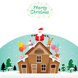 Santa Claus, Snowman And Animals On Roof Royalty Free Stock Image