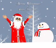 Santa Claus. With Snowman in another version-greeting card Stock Photography