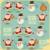 Santa Claus and Snowman Background Royalty Free Stock Photography