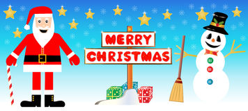 Santa Claus and snowman card Royalty Free Stock Photos