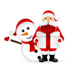 Santa Claus with snowman cartoon  a gift Royalty Free Stock Photography