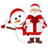 Santa Claus with snowman cartoon  a gift vector Royalty Free Stock Photography